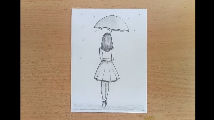 Good Pencil Sketches Of Girl In Rain Easy How To Draw A Girl With Umbrella Pencil Sketch Step By Step. Pics