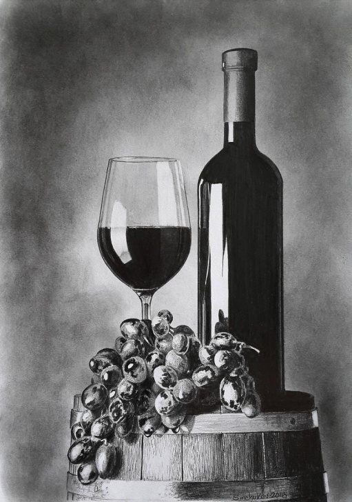 Good Pencil Still Life Step by Step Wine Grapes Still Life Original Pencil Drawing Wall Art Image