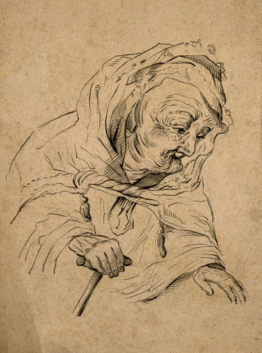 Good Rembrandt Pencil Drawings Free A Very Old Woman. Pencil Drawing After Rembrandt. | Wellcome Collection Images