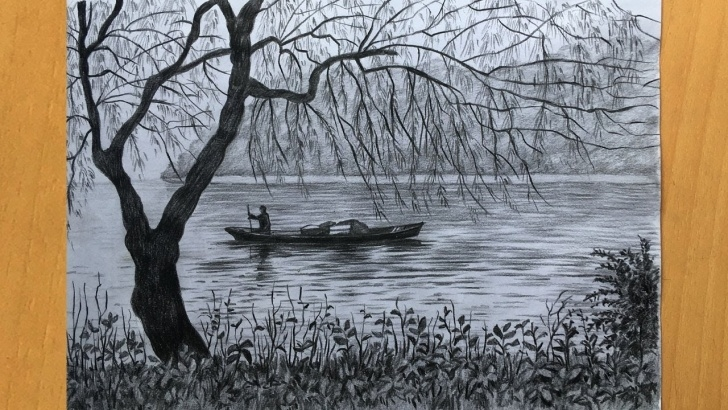 Good River Pencil Drawing for Beginners Scenery Drawing In Pencil | Simple Pencil Sketch | River And Boat Drawing Image