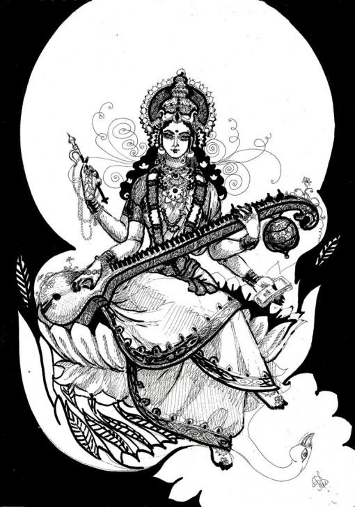 Good Saraswati Pencil Sketch Courses Saraswati Drawing At Paintingvalley | Explore Collection Of Photo