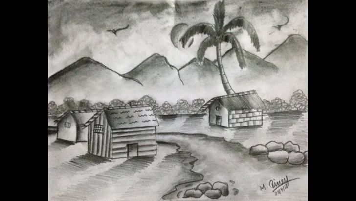 Good Shading Drawing Of Nature Free How To Draw Natural Scenery With Pencil Shading Picture