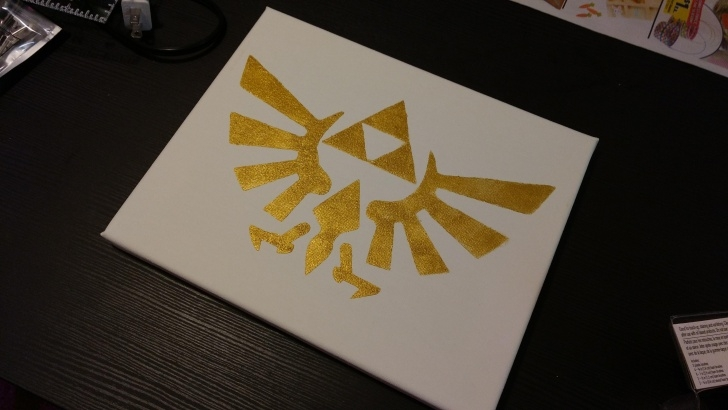 Good Zelda Stencil Art Ideas Oc] I Made A Triforce Stencil And My Boyfriend Put It On A Canvas Images