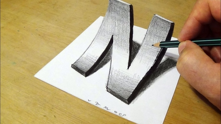 Gorgeous 3D Art On Paper With Pencil for Beginners Drawing Letter N With Pencil - 3D Art On Paper By Vamos Images
