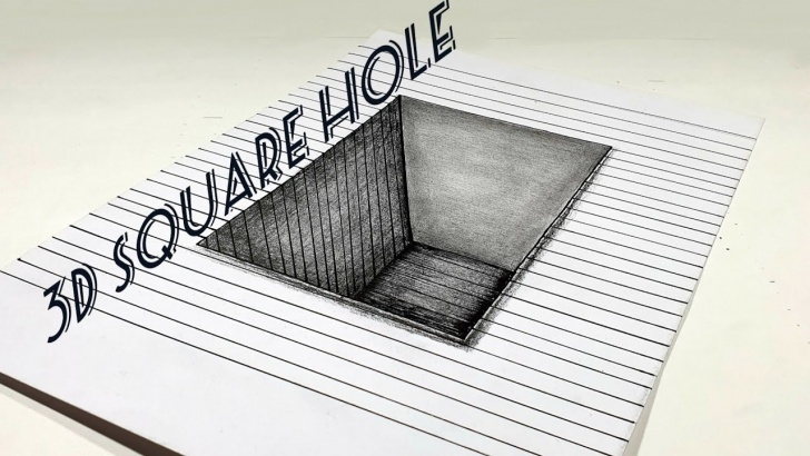 Gorgeous 3D Shading Drawing Step by Step How To Draw Easy 3D Square Hole. Illusion. Shading. Easy Steps. 3D Drawings. Pictures