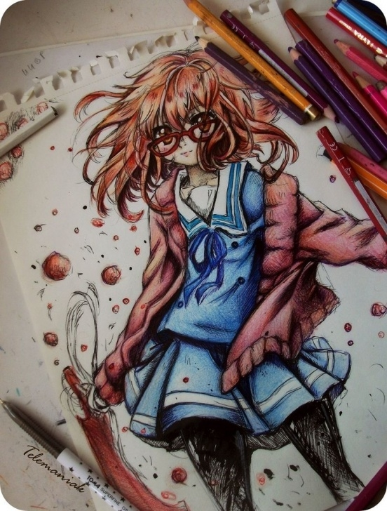 Gorgeous Anime Colored Pencil Ideas ✮ Anime Art ✮ Anime Girl. . .school Uniform. . .cardigan Pic