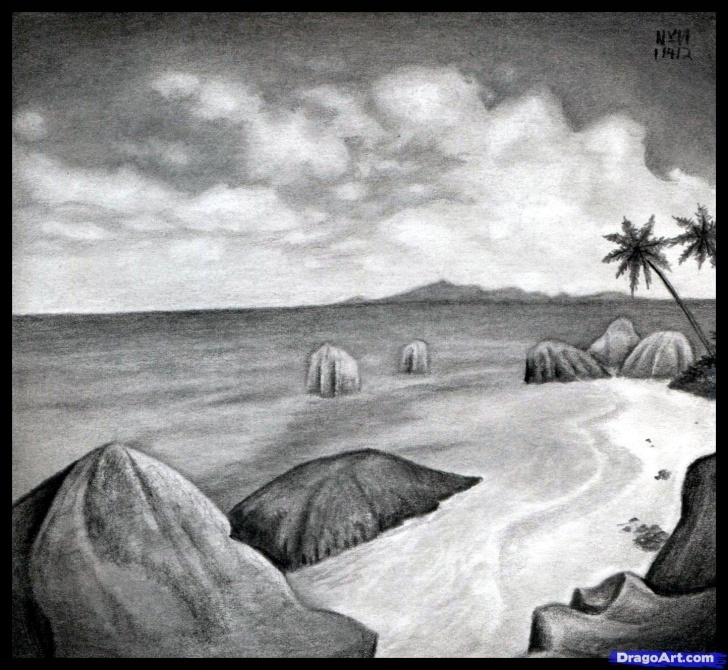 Gorgeous Beach Pencil Drawing Simple How To Sketch A Beach, Draw A Realistic Beach, Step By Step Image