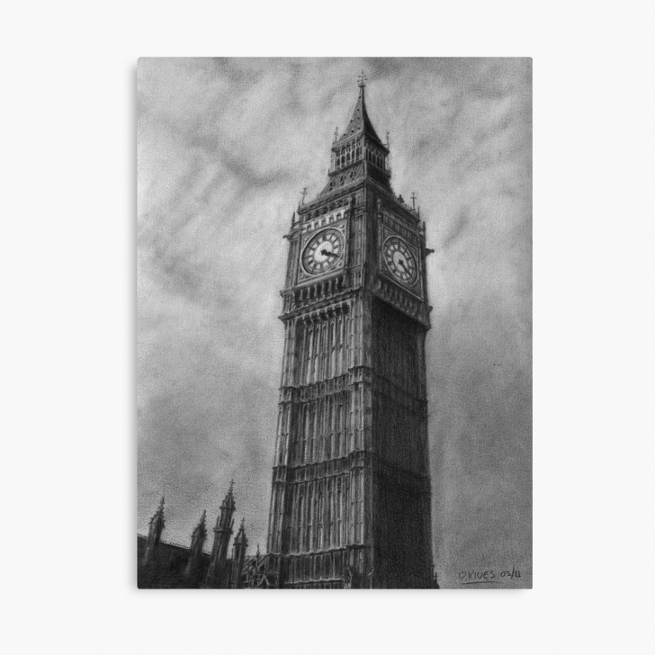 Gorgeous Big Ben Pencil Drawing Tutorial Big Ben London Pencil Drawing | Canvas Print Images