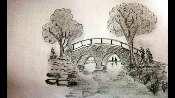 Bridge Pencil Drawing