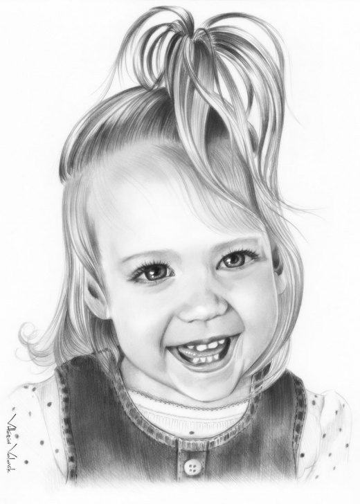Gorgeous Child Pencil Drawing Step by Step Custom Baby Portrait, Pencil Drawing From Your Photo, Sketch, Portraits By  Commission, Original Artwork, Realistic, Free Digital Format Image