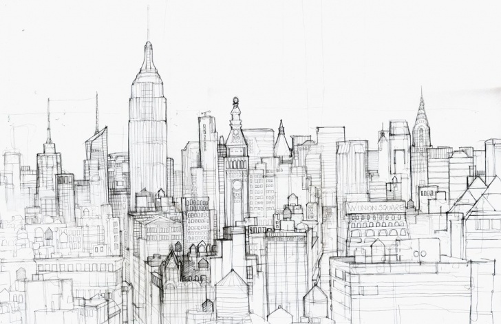 Gorgeous City Pencil Drawing Step by Step New York City Skyline Pencil Drawing Sketch Coloring Page | Bellevue Image