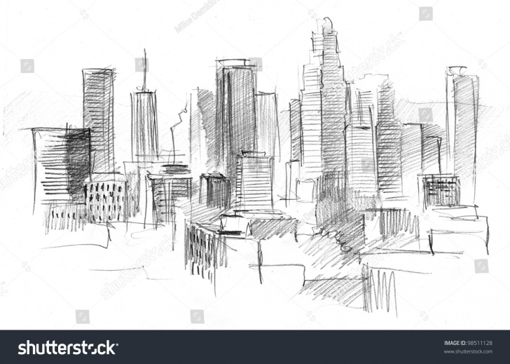 Gorgeous City Pencil Drawing Step by Step Pencil Drawing Big Modern City Skyscrapers Stock Illustration 98511128 Pics