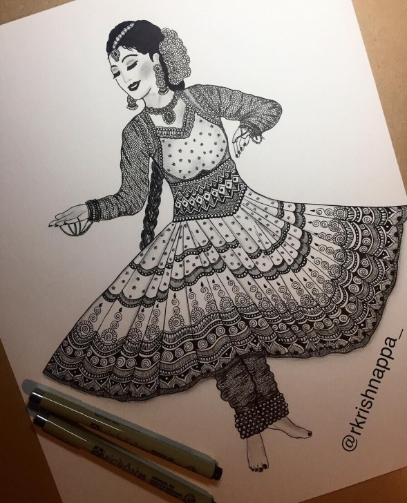 Gorgeous Classical Dance Pencil Drawing Ideas Kathak - One Of The Many Forms Of Indian Classical Dance . The Term Picture