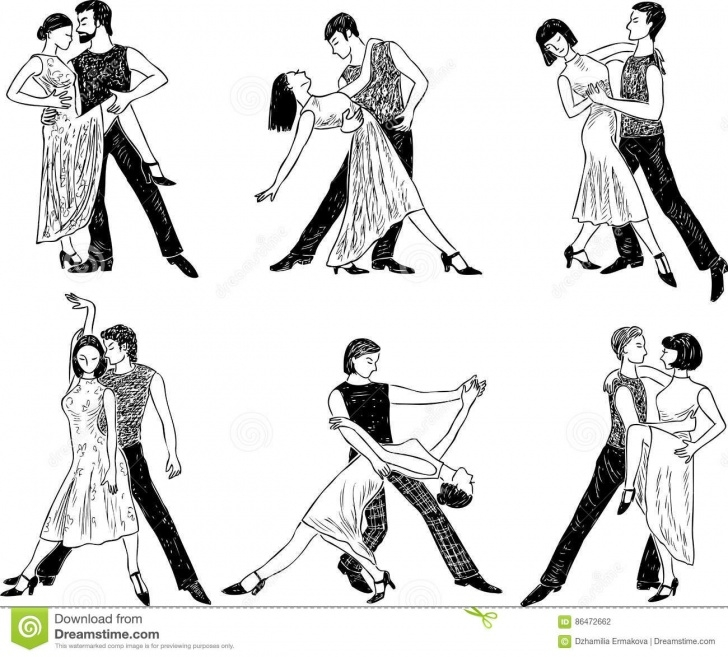Gorgeous Dancing Couple Sketch Simple Sketches Of The Dancing Couples Stock Vector - Illustration Of Pics