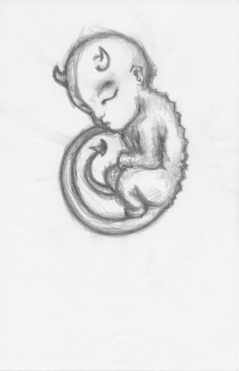 "Gorgeous Devil Drawings In Pencil Lessons Unframed Original Pencil Drawing ""devil Fetus"" 8.5 X 5.5 Image"