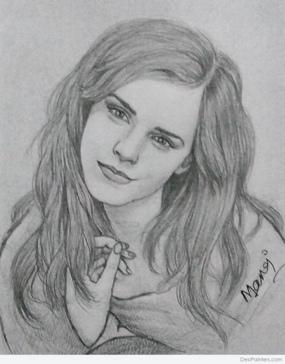 Gorgeous Emma Watson Pencil Drawing Lessons Beautiful Pencil Sketch Of Emma Watson | Desipainters Pics