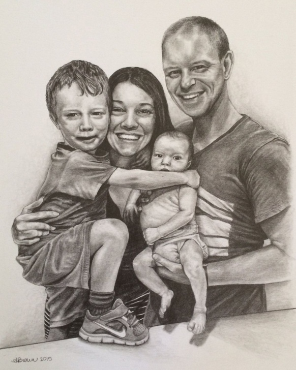 Gorgeous Family Pencil Sketch Tutorials Custom Family Portrait || 8X10 Pencil Drawing || From Your Photo In Photos