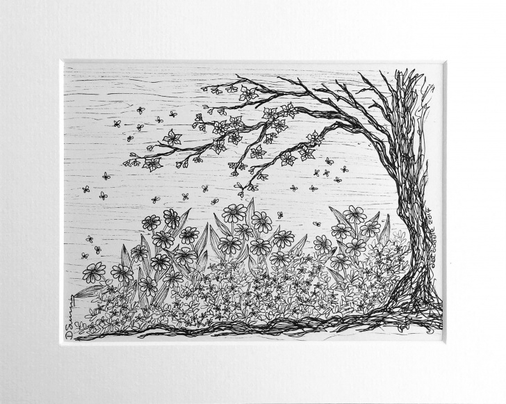 Gorgeous Flower Garden Drawing Pencil Techniques Pencil Sketch A Tree Bee Hive And Tree And Flower Drawing, Black And Image
