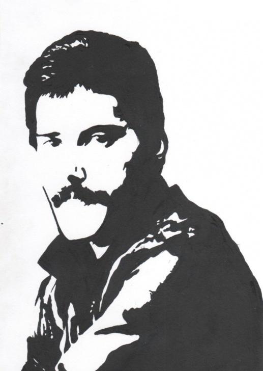 Gorgeous Freddie Mercury Stencil Art Ideas Freddie Mercury Freezer Paper Stencil | Clipart - Graphic Popart Photos