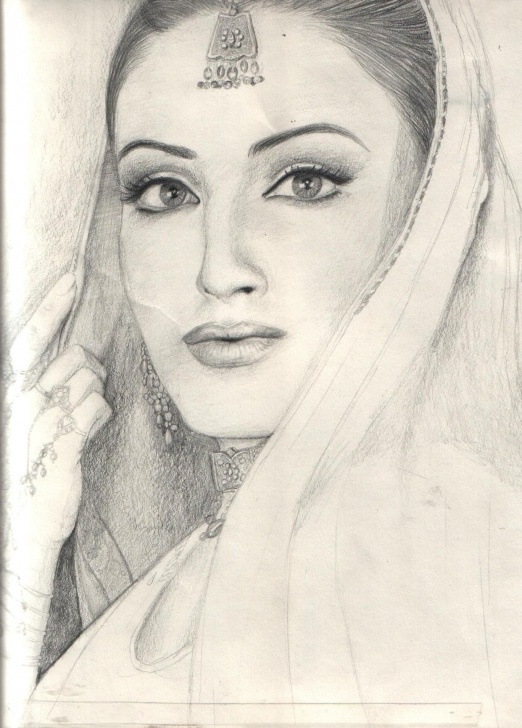 Gorgeous Girl Pencil Sketch Drawing Courses Indian Girl Pencil Drawing | Art | Pencil Drawings Of Girls, Pencil Photo