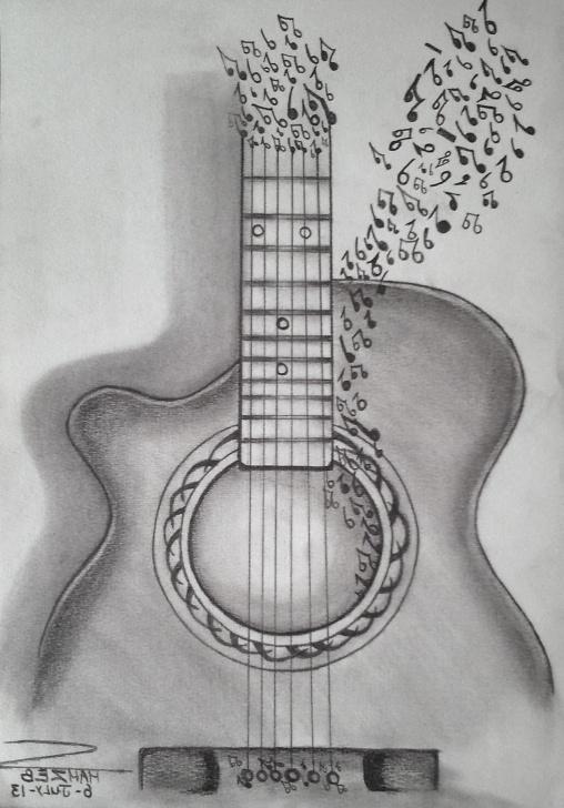 Gorgeous Guitar Pencil Art Courses Guitar Drawing Sketch And Guitar Drawing Sketch Pencil Drawing Image