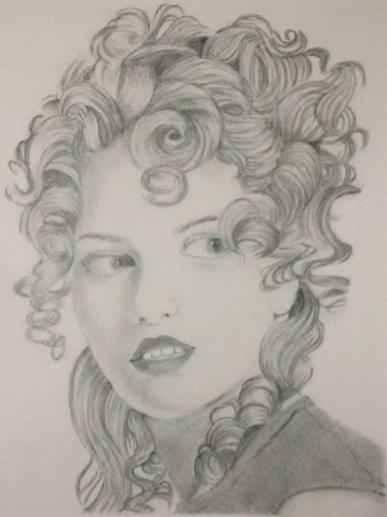 Gorgeous Lady Pencil Sketch Tutorial Pencil Sketch Of A Lady Curly Hair | My Drawings | Sketches Photos