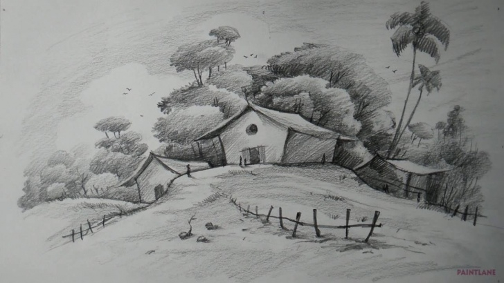 Gorgeous Landscape Pencil Drawing Easy How To Draw Easy And Simple Landscape For Beginners With Pencil Picture