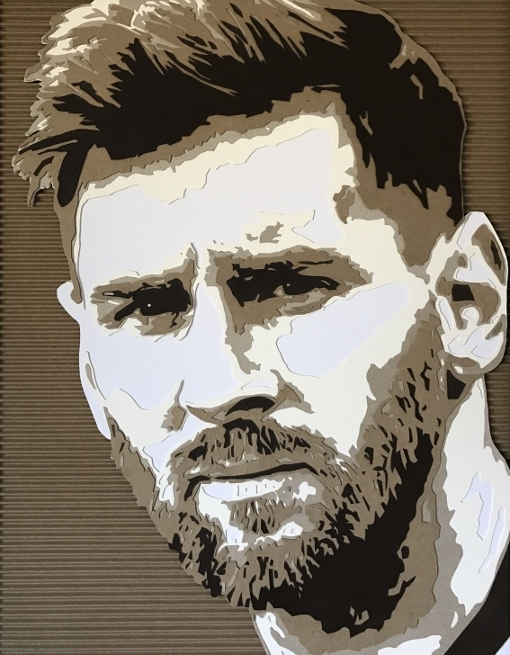Gorgeous Messi Stencil Art Tutorials Cardboard Portrait By Kevin Hartman: Messi 2 | Painting Class In Image