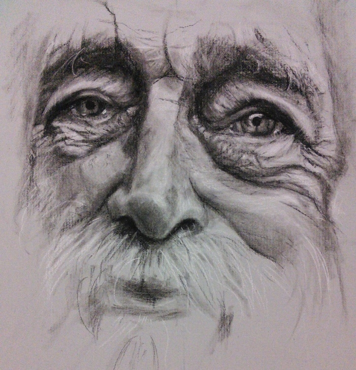"Gorgeous Old Man Pencil Sketch Step by Step Complete"" Charcoal Pencil Old Man Portrait Drawing On Strathmore Image"