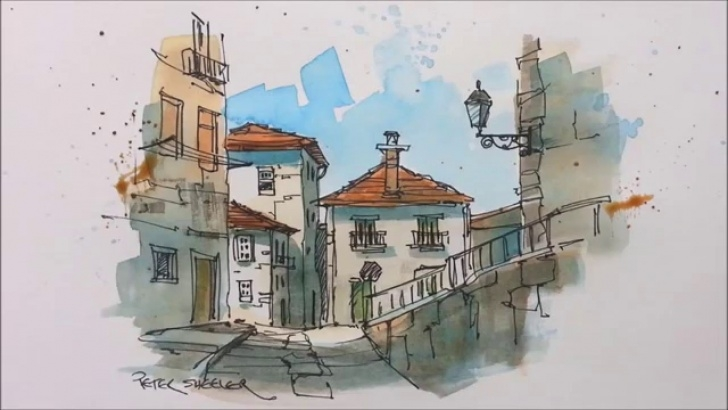 Gorgeous Pencil And Watercolor Art Courses A Pen And Wash Watercolor In My Urban Sketching Style. Great For Beginners  And Seasoned Artist Alike Picture