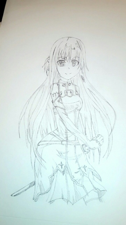 Gorgeous Pencil Art Online Easy Asuna From Sword Art Online) Grey Pencil Art Work By Candymoon Images