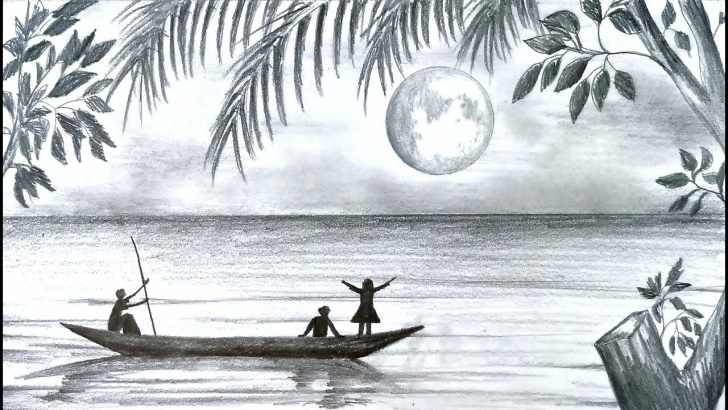 Gorgeous Pencil Art Scenery Tutorials How To Draw Scenery Of Moonlight Night Scene With Pencil Sketch Step By  Step (Easy Drawing Video) Pics