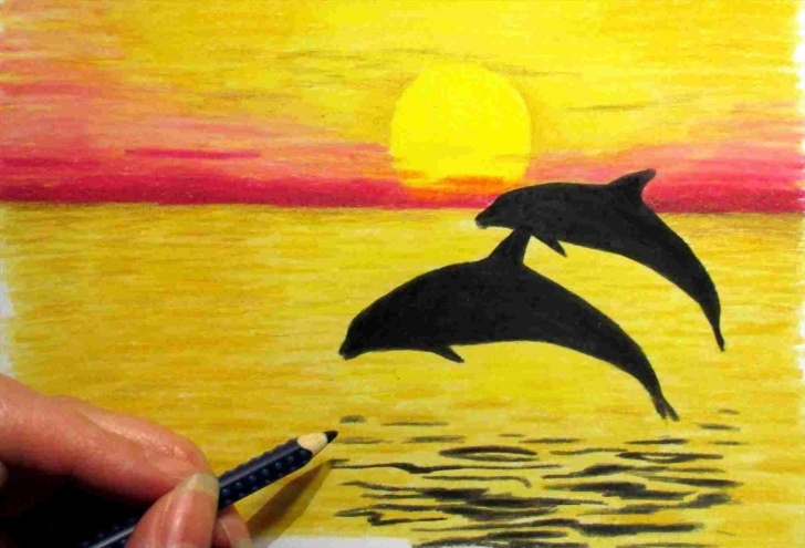 Gorgeous Pencil Colour Drawings Easy Tutorial Easy Landscape Drawings In Colour   Drawing Work Photo
