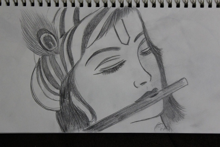 Gorgeous Pencil Shade Drawing Of Krishna Courses Easy Pencil Drawings Of Lord Krishna Step By Step The Path Of My Picture
