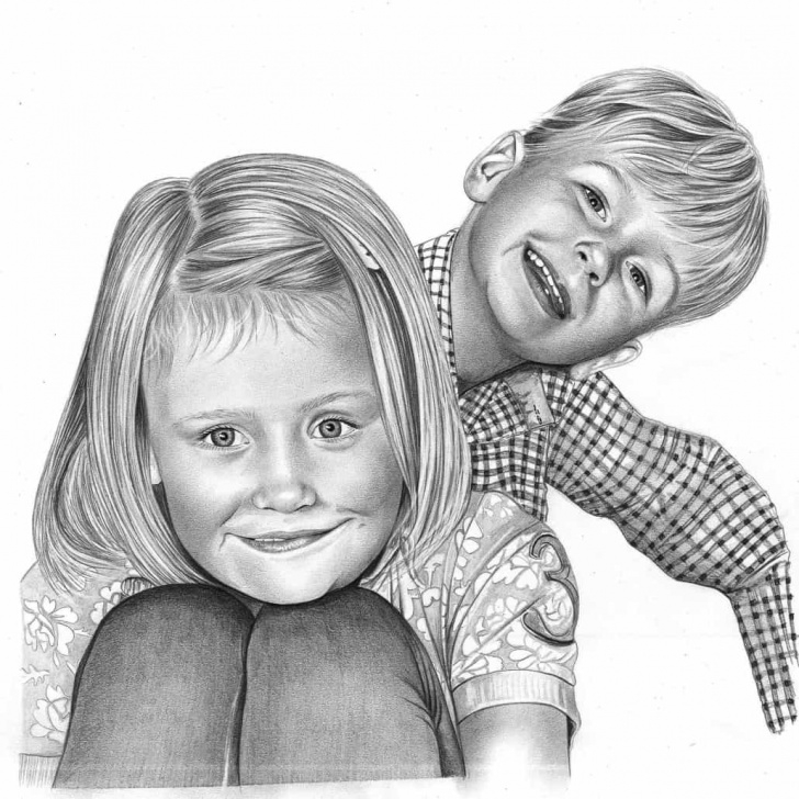 Gorgeous Pencil Sketch Of Brother And Sister Courses Child Portrait Drawings By Angela Of Pencil Sketch Portraits Photos