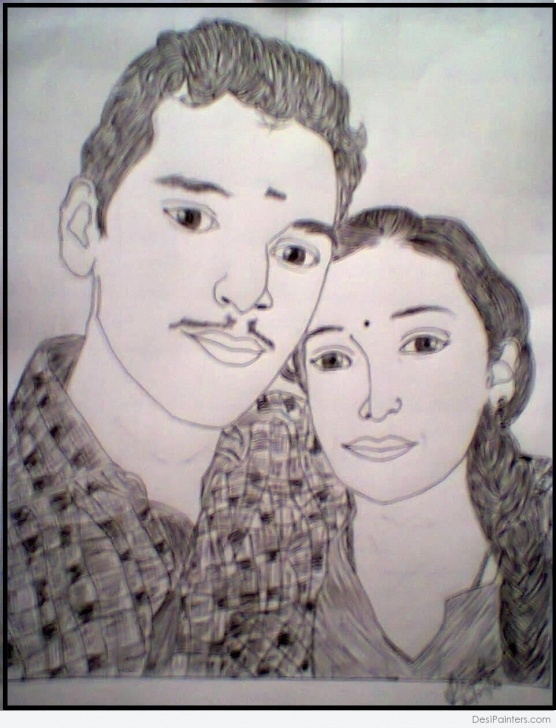 Gorgeous Pencil Sketch Of Brother And Sister Simple A Pencil Sketch Of Brother And Sister | Desipainters Image