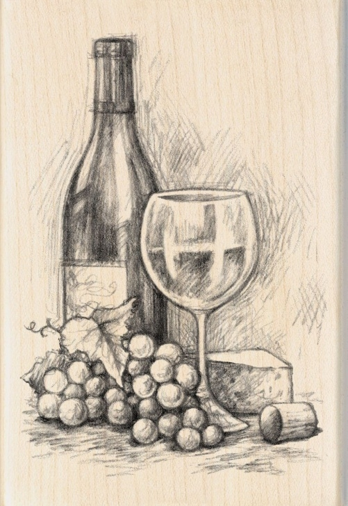 "Gorgeous Still Life Pencil Shading Tutorial Inkadinkado Mounted Rubber Stamp 4""x2.75"" - Wine&cheese In 2019 Photo"