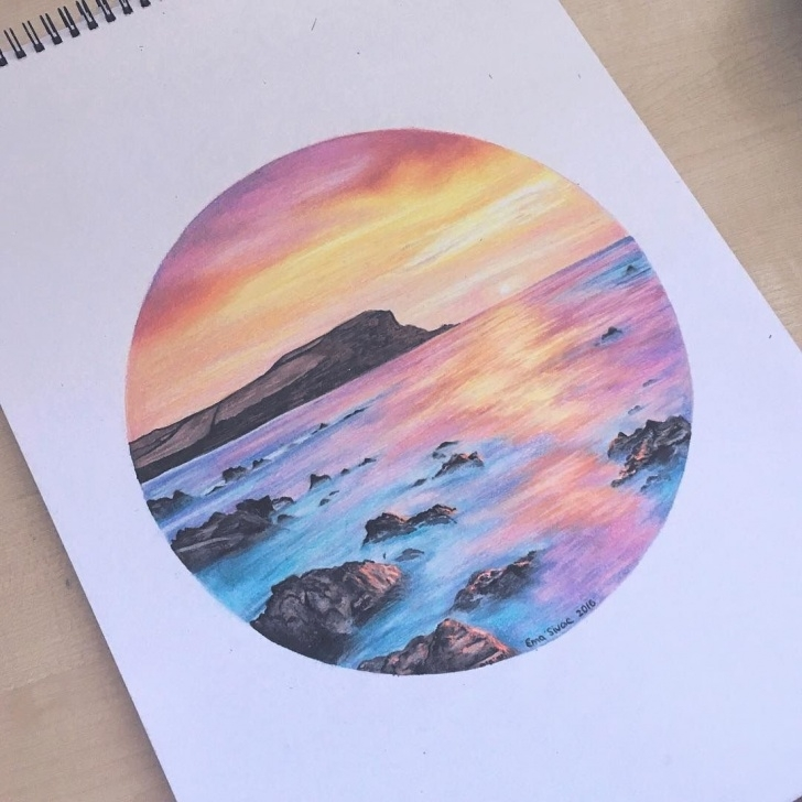 Gorgeous Sunset Drawing With Color Pencil Easy Dreamy Sunset Ema Sivac Colored Pencils 2016 … | Colored Pencil In 2019… Image