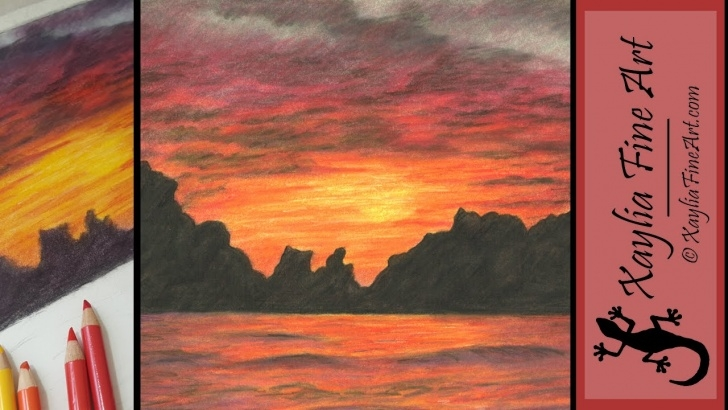 Sunset Drawing With Color Pencil