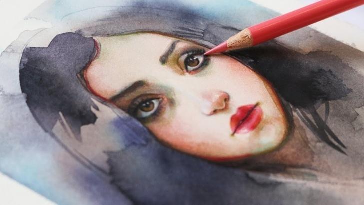 Watercolor Pencil Portrait