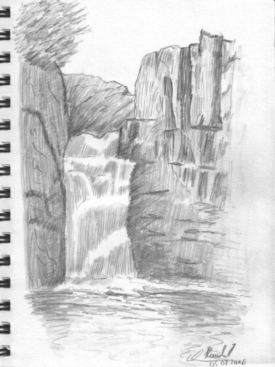 Gorgeous Waterfall Pencil Drawing Simple Drawing Lesson: Waterfall 001 By Haraldelsen | Drawing Tutorials Images