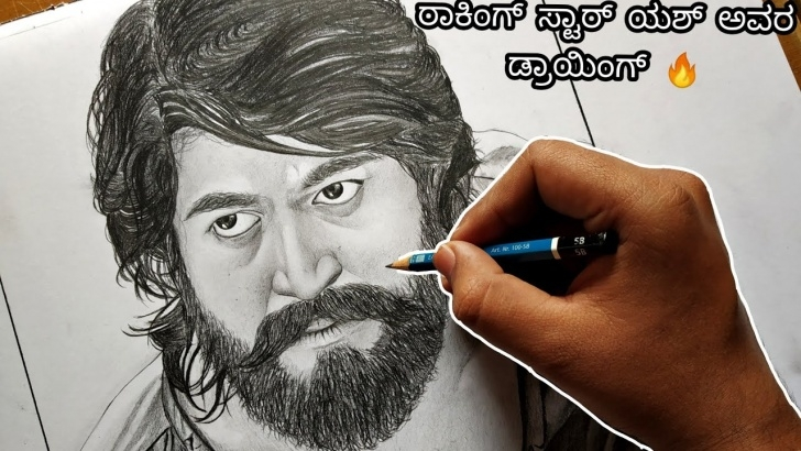 Gorgeous Yash Pencil Sketch for Beginners Kgf Drawing | Rocking Star Yash | Pencil Sketch Photo