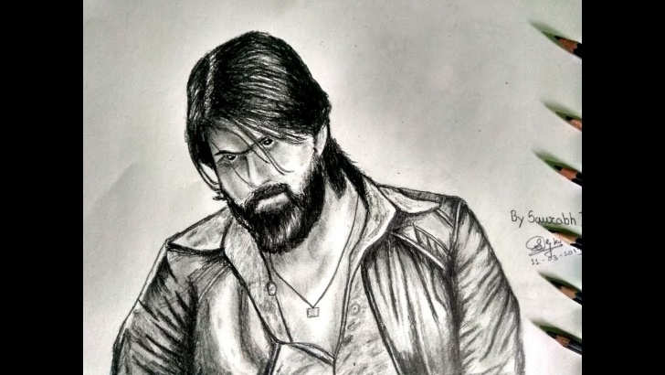 Gorgeous Yash Pencil Sketch Lessons Kgf | Sketch Of Yash | Pencil Sketch | By Saurabh Kute 2019 Photos