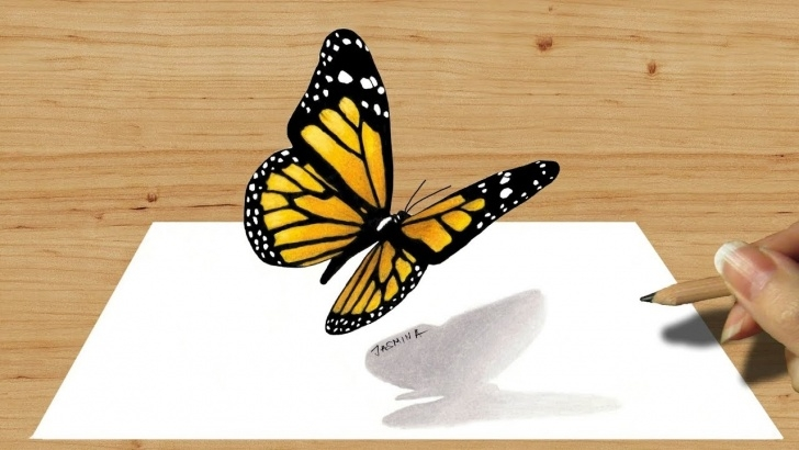 Incredible 3D Butterfly Drawings In Pencil Simple 3D Colored Pencil Drawing Of Butterfly - Speed Draw | Jasmina Susak 3D Art Image