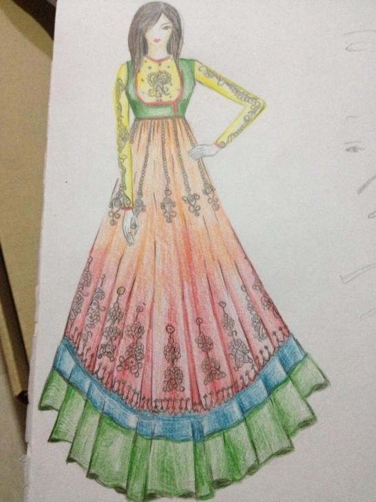 Anarkali Dress Pencil Sketch