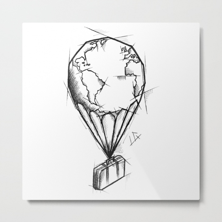 Incredible Balloon Pencil Drawing Step by Step Balloon Handmade Drawing, Made In Pencil, Charcoal And Ink, Tattoo Sketch,  Tattoo Flash, Sketch Metal Print Image