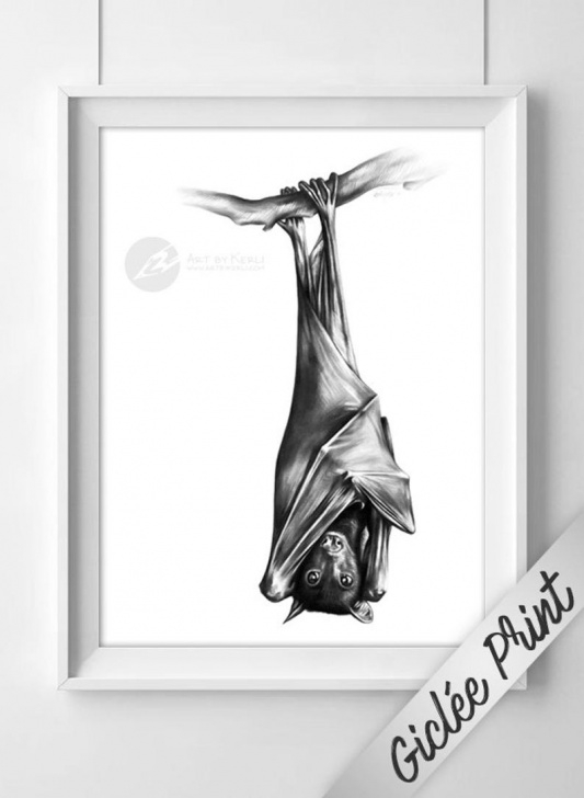 Incredible Bat Pencil Drawing Lessons Fruit Bat Limited Edition Giclée Print - Art By Kerli Pic
