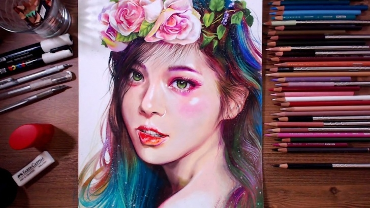 Incredible Beautiful Colour Pencil Drawings Techniques for Beginners Colored Pencil Drawing - Beautiful Girl | Drawholic Pic