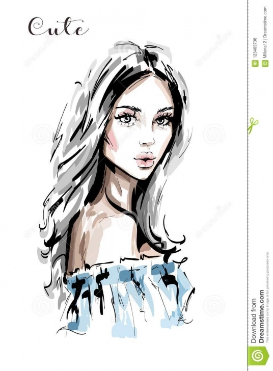 Incredible Beautiful Face Sketch Simple Hand Drawn Beautiful Young Woman Portrait. Stylish Elegant Girl Pics