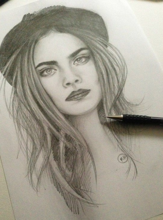 Incredible Beautiful Portrait Sketches Ideas Cara Delevingne Pencil Sketch By Farooky On Deviantart | Drawings In Photos